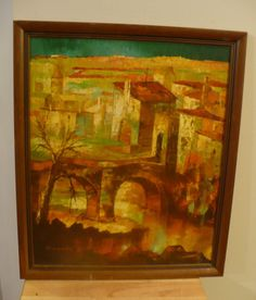DuMont Oil on Canvas Painting Cityscape European City Scene Italy Impressionist