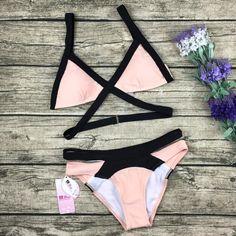 Cute Pink Strap Crisscross Bikini Set Swimsuit Swimwear