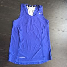 ⚡️FLASH SALE Under Armour Coldback Runners Tank Semi fitted . Colbalt blue with silver T-strap. EUC Under Armour Tops Tank Tops
