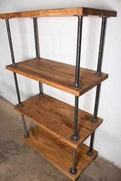 Wooden Bookshelf Industrial Pipe Industrial by Homestead1227
