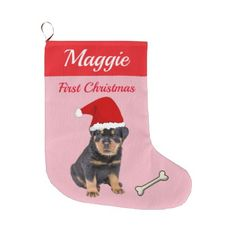 Rottweiler Puppy First Christmas Large Christmas Stocking - dog puppy dogs doggy pup hound love pet best friend