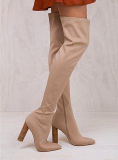 Billini Camel Lycra Valeria Over The Knee Boots