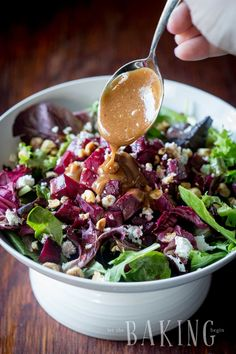 Beet and Feta Salad Recipe – Let the Baking Begin! Beet and Feta Salad – refreshing but hearty salad of roasted beets, baby greens, creamy crumbled feta, roasted hazelnuts and a nice vinaigrette Beet Salad With Feta, Roasted Beet Salad, Spinach And Feta, Best Beet Salad Recipe, Beet Salad Recipes, Smoothie Recipes, Beetroot Recipes, How To Roast Hazelnuts, Dressings
