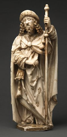 James the Greater Circa Alabaster, gold, and paint Metropolitan Museum of Art, Cloisters Collection (accession no. Made in Burgos, Spain St James The Greater, Travel Hat, Saint Jacques, Patron Saints, 14th Century, Pilgrimage, Star Shape, American Art, Sculpture