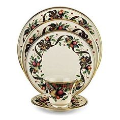 Amazon.com | Lenox Holiday Tartan Gold-Banded 5-Piece Place Setting, Service for 1: Lenox Tartan Plaid China: Dinnerware Sets