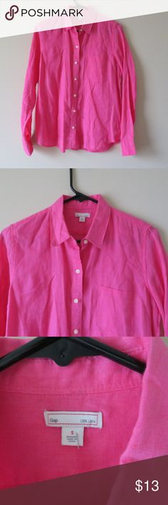 GAP BUTTON DOWN SHIRT 100% LINEN PINK TOP SMALL ID: AE90  hey there! thank you for taking your time to look at my closet. if you find anything that you like,  feel free to make a Reasonable Offer! thank you!   Pre-Owned   Measurements Flat Lay in INCHES: Armpit to Armpit: 19.5 Sleeve Length:24 Length:26 GAP Tops Button Down Shirts