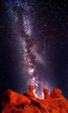 Shooting Star Over HooDoos - Goblin Valley UT