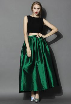 La Diva Pleated Maxi Full Skirt in Green - Skirt - Bottoms - Retro, Indie and Unique Fashion