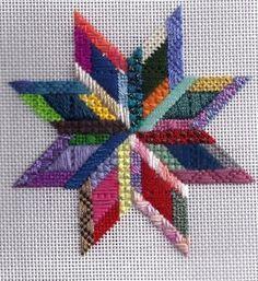 Scrap bag star needlepoint from Patt & Lee Designs