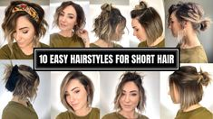 Hair Styles 10 Easy Hairstyles for Short Hair # Short Hair Styles Easy, Cute Hairstyles For Short Hair, Curly Hair Styles, Short Hair Tutorials, Short Hair Updo Easy, Short Hair Tips, Ideas For Short Hair, Braiding Short Hair, Short Hair Ponytail Hairstyles