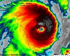 A satellite image of Tropical Cyclone Marcia before she crossed the coast of Queensland, Australia as a category 5 system (the highest, most dangerous category) in Feb Tornados, Category 5, Coast Australia, Queensland Australia, Iconic Australia, Victoria Australia, Severe Storms, Tropical, Original Music