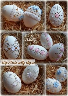 eggs carving and lace Egg Crafts, Easter Crafts, Diy And Crafts, Arts And Crafts, Emu Egg, Seed Art, Carved Eggs, Ukrainian Easter Eggs, About Easter