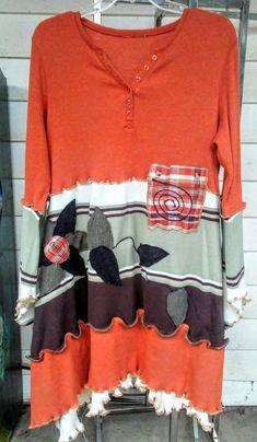 7656fa905f3 Epolstyle OOAK Upcycled bohemian orange plaid coral dress wearable art  patchwork hippie inspired size medium large