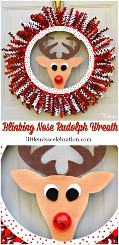 Fellow Rudolph fans, you're going to LOVE this Blinking Nose Rudolph Wreath! This adorable wreath is sure to bring holiday smiles to both young and old! Felt