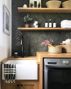 Herringbone Tile, Mercury Mosaics, Kitchen Backsplash, Room Design, Decor, Green Laundry, Backsplash Trends, Joinery Design, Tile Bathroom