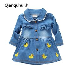 Qianquhui 2017 Autumn Fashion Kids Girls Peter Pan Callor Long Sleeve Dress Coat  Spandex Baby Girls Denim Children's Dress 1-4Y #Affiliate
