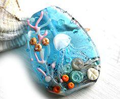 Aqua Blue Lampwork glass bead Jellyfish shells ocean by MayaHoney