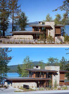 -rue-Lake-club-Lac-Tahoe pierre et bois Modern Lake House, Modern Mountain Home, Modern House Design, Lake Tahoe, Residential Architecture, Architecture Design, Contemporary Architecture, Tahoe Hotels, Lakefront Homes