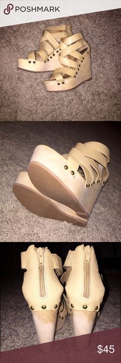 Michael Kors Platform Wedges These are perfect for summer! I personally love the bright nude color and the boho look! They are too big for me..but they're in perfect shape and ready to be loved! Michael Kors Shoes Wedges