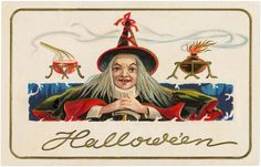 Vintage Halloween Old Witch Image