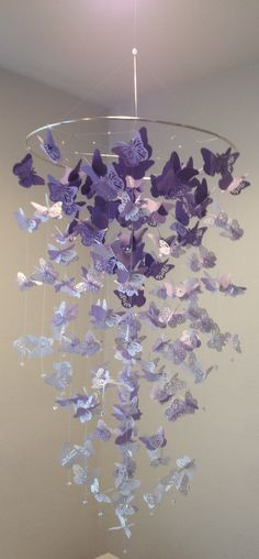 monarch butterfly chandelier mobile in purple and white mix girl room mobile 3d nursery mobile baby girl mobile baby mobile - Baby Girl Room Chandelier