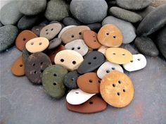 Beach stone Buttons extra large RESERVED by BeachStoneSoup on Etsy