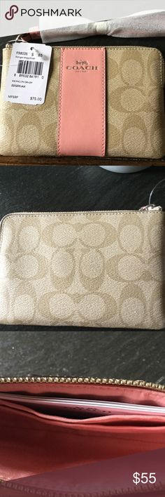 NWT Coach Wristlet Tan Coach wristlet with peach leather on front and matching peach interior.  Inside has 2 small pockets. Coach Accessories