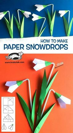 SNOWDROPS with straw (krokotak) children activities, more than 2000 coloring pages<br> Watch video: printable template: How to make: see more: Kids Crafts, Spring Crafts For Kids, Preschool Crafts, Easter Crafts, Art For Kids, Diy And Crafts, Kids Diy, Flower Crafts, Diy Flowers