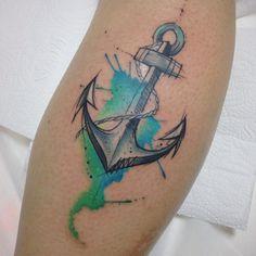 Anchor watercolor Tattoo by Felipe Bernardes Map Tattoos, Symbol Tattoos, Anchor Tattoos, Arrow Tattoos, Tattos, Anchor Tattoo Design, Tatoo Designs, Sister Tattoos, Tattoos For Guys
