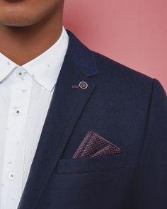 Wool twill jacket - Navy | Blazers | Ted Baker UK