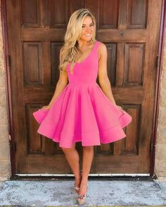 Simple Pink Short Satin V Neck Short Prom Dress,Homecoming Dresses