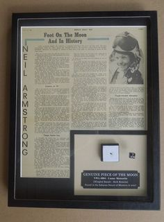 Rare Astronaut Collectible Auction closing soon! - Neil Armstrong Apollo Moon Landing Tribute Display with genuine Moon Rock sample.  A fitting tribute to the man who walked who few ever dared.  Would make an ideal holiday gift for that person who has everything, or grew up in the Apollo era.  :)