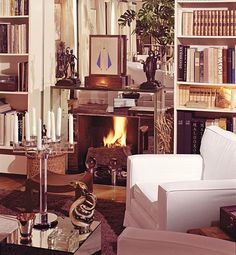 paris apartment of yves saint laurent, with mirrored fireplace