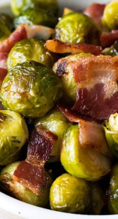 Oven Roasted Brussels Sprouts with Bacon - A simple and super flavorful recipe! Perfect side dish for a special holiday meal. Roasted Brussel Sprouts Bacon, Sprouts With Bacon, Oven Roasted Vegetables, Side Dish Recipes, Vegetable Recipes, Enjoy Your Meal, Banting Recipes, Cooking Recipes, Healthy Recipes