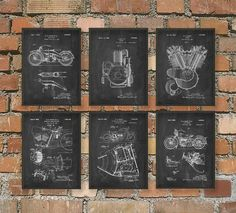 The Ultimate Harley Davidson Motorcycle Patent Wall Art Poster Set - Valentines Gift Idea for Him by QuantumPrints on Etsy https://www.etsy.com/listing/209502692/the-ultimate-harley-davidson-motorcycle