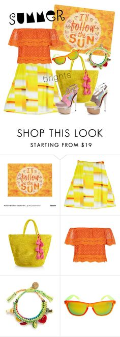 """""""The sunniest"""" by jennytee ❤ liked on Polyvore featuring Sensi Studio, Versace, New Look, Venessa Arizaga and summerbrights"""