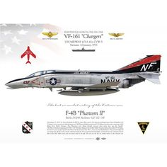 """UNITED STATES NAVY FIGHTER SQUADRON ONE SIX ONE (VF-161) """"Chargers"""" USS MIDWAY (CVA 41), CVW-5. Vietnam. 12 January, 1973 Pilot Lt Victor Kovaleski / RIO Lt(JG) James Wise downed a MiG-17. The last air combat victory of the Vietnam war Air Vietnam, Vietnam War, Military Jets, Military Aircraft, Fighter Aircraft, Fighter Jets, Airplane Illustration, F4 Phantom, War Thunder"""