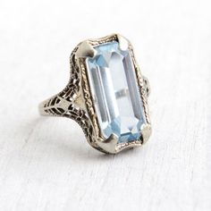 Antique 14k White Gold Art Deco Blue Spinel Filigree Ring - Vintage 1920s Size 6 Huge Aquamarine Blue Emerald Cut Stone Flower Fine Jewelry