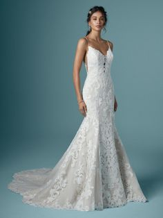 Maggie Sottero - LUCRETIA, To level up in all things romantic and nature-inspired, consider this mermaid wedding dress—featuring subtle illusion, soft shimmer, and a gorgeous petal-shaped train. Ethereal Wedding Dress, How To Dress For A Wedding, Lace Mermaid Wedding Dress, Dream Wedding Dresses, Designer Wedding Dresses, Bridal Dresses, Gown Wedding, V Neck Fit And Flare Wedding Dress, Glitz Wedding