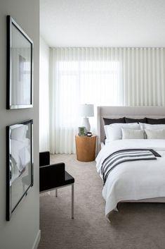 A stylish master retreat by professional interior designer, Natalie Fuglestveit Interior Design Modern Bedroom, Master Bedrooms, Ensuite Bathrooms, How To Make Pillows, Drapery, Custom Bedding, Interior Design, Crate, Barrel