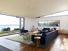 Sugar Gum House enjoys stunning views over the wild ocean, natural light from North-facing clerestory windows and framed views of the rolling hills