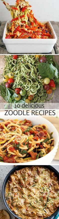 10 Delicious Zoodle (Zucchini Noodle) Recipes use vegan substitutes for meat and dairy Zucchini Noodle Recipes, Zoodle Recipes, Spiralizer Recipes, Vegetable Recipes, Vegetarian Recipes, Healthy Recipes, Zucchini Noodles, Veggie Noodles, Chicken Noodles