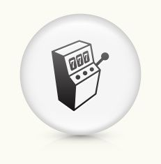 Slot Machine icon on white round vector button vector art illustration
