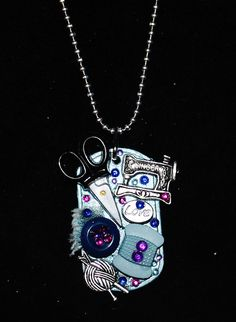 Dog Tag Necklace ....  I love to sew by Foreverpeace on Etsy