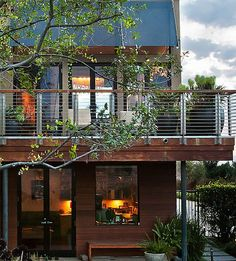 Two Points of Balcony Design : Enchanting Contemporary House Exterior With Modern Balcony Design And Railings Also Modern Door And Cool Windows Design Also Exquisite Black Plant Pot Balcony Design, Deck Design, House Design, Modern Balcony, Modern Deck, Modern Exterior, Exterior Design, Midcentury Modern, Modern Railing