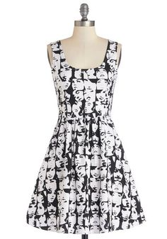 Good Enough to Glance Dress - Black, White, Novelty Print, Pockets, Casual, A-line, Sleeveless, Better, Scoop, Mid-length, Woven