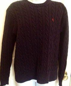 RALPH LAUREN Navy Blue Crewneck Cotton Cable Knit Sweater Sz Small RL #RalphLauren #Crewneck