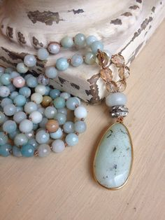 BoHo gemstone sea green gold vermeil teardrop by MarleeLovesRoxy, $110.00
