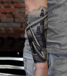 Mens Forearms Realistic Anchor And Lighhouse Tattoo