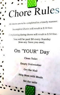 DIY chore chart ideas. Love the chore rules & fines!!!